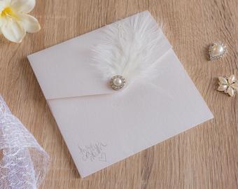 Handmade Pocketfold Wedding Invitations ClassicFeather&Pearl
