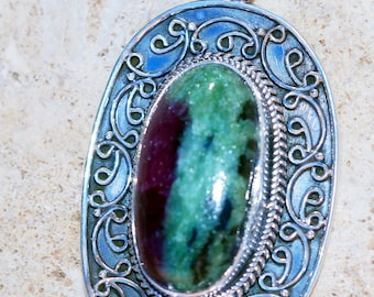 Ruby in Zoisite   & 925 Sterling Silver Pendant