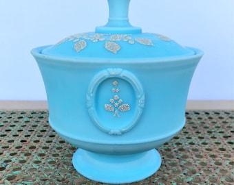 Westmoreland satin blue candy pedestal dish
