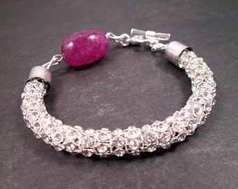 Gemstone and Rhinestone Bracelet, Violet Fluorite and Silver Beaded Bracelet, FREE Shipping U.S.