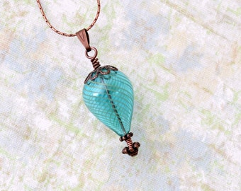 Turquoise and Copper Hot Air Balloon Necklace - blown glass and copper - Hot Air Balloon Jewelry - Turquoise glass necklace