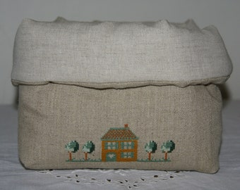 Fabric basket Organizer padded welcome hand embroidered textile
