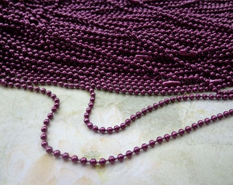 20 PCS  Dark Purple Ball Chain Necklaces - 27 inch, 2.4mm