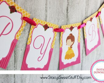 Beauty and the Beast Inspired Birthday Banner, DIY, Printable, Instant Download