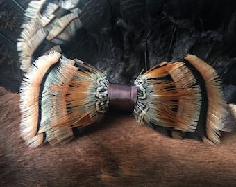 Turkey & 3 Blue Orange Pheasant Feather Bowtie