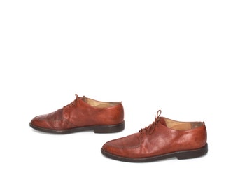 mens size 11.5 OXFORD brown leather 80s lace up dress shoes made in ITALY