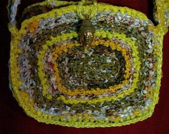 Recycled Buddha bag, Recycled crocheted plastic bag, Upcycled plastic bag