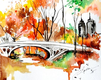 New York City Love Watercolor, Giclee Print of Central Park, Watercolor Painting  by Lana Moes,  Travel Art, Wanderlust Illustration
