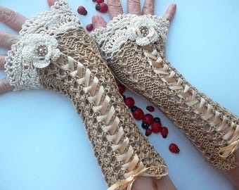 Crocheted Cotton Gloves Ready To Ship Cuffs Women Retro Corset Beige Victorian Fingerless Summer Wedding Lace Evening Gothic Knitted B31