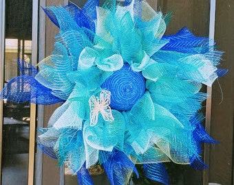 Lively Blue Sunflower Wreath