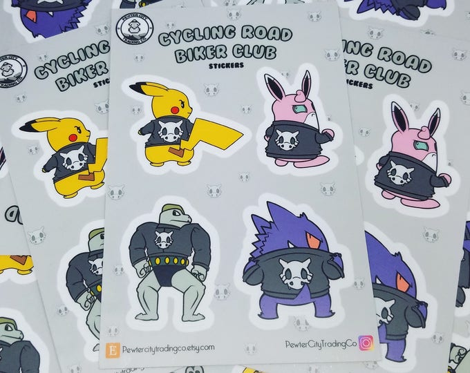 Cycling Road Biker Club Pokemon Inspired Sticker Sheet | Hand Made Stickers | Pokemon Stickers