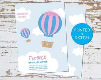 Invites - Personalised Hot Air Balloon Birthday Invites - Printed or Digital
