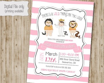 Where The Wild Things Are Baby Shower Invitation, Girl Baby Shower, Wild Rumpus Invitation, King of all Wild things Invite, Pink