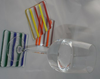 Striped Clear Coasters with Colourful Rods