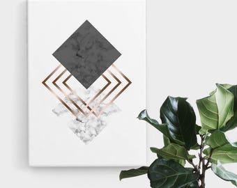Rose Gold Marble Diamond Print, Print Art, Geometric Art, Abstract Art, Scandinavian Print, Minimalist Art, Digital Art, Printable Art