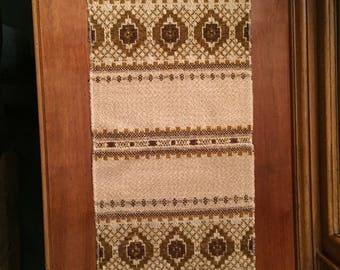 VIntage woven textile, Norwegian table runner