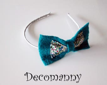 Felted turquoise bow headband and blue flowers liberty