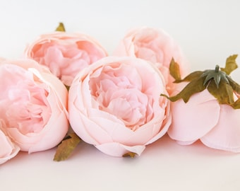 Set of 9 Small to Large Cabbage Roses in Blush Pink - Artificial Flowers -read description- ITEM 0982