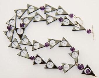 Hematite and Amethyst Necklace - Modern Geometric Design