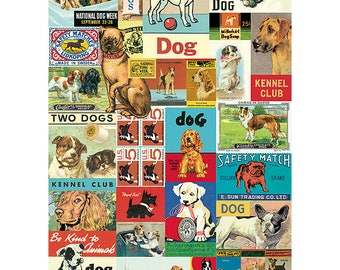 Vintage Fun Loving Dog Wrapping Paper by Cavallini to Frame or Gift Wrap, Book Binding, Decoupage, Collage, Scrapbook, Paper Arts PSS 3366