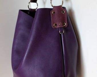 Large leather two-tone purple style tote bag, convertible shoulder bag