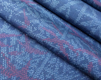 Vintage indigo, white and red tsumugi kimono silk with bamboo pattern - by the yard