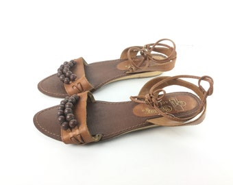 boho sandal size 55 Brown sandal womens sandal vintage sandals, strappy sandal, flat sandal, beaded sandal, bohemian, hippie sandal, leather