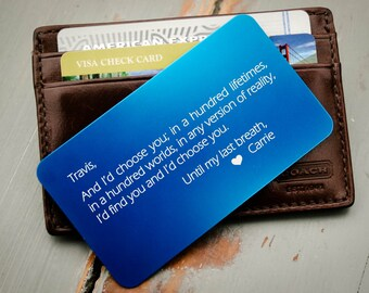 Personalized Wallet Card, Metal Wallet Insert, Engraved Wallet Card, Custom Wallet Insert: Valentine's Day Gift for Him, Deployment Gift
