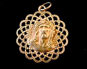 14K Gold Jesus/Mary pendant mandala