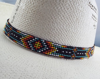 Beaded hatband, Strecth  hat band, Bold rich colors, beaded Western horsehair hat band, Cowboy hat band, Rodeo, Aztec design, Stretch to fit