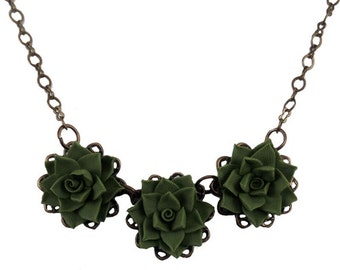 Three Succulent Necklace - Succulent Filigree Necklace Silver or Antique Brass, Trio Succulent Jewelry