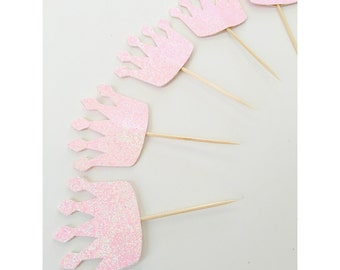 Crown Cupcake Toppers, Princess party, Crown decorations, Cupcake toppers, pink and gold crowns, 1st birthday Pink and Gold- set of 12