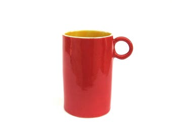 festive hand built porcelain cup ...  red and yellow