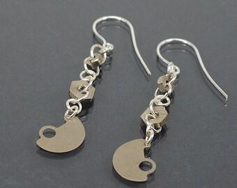 Industrial Earrings- Upcycled Clock Part & Hardware Silver Steampunk Jewelry, Steampunk Earrings, Hardware Jewelry, Industrial Jewelry