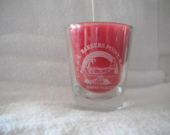 upcycled shot glass candle Coast Guard Air Station, Honolulu