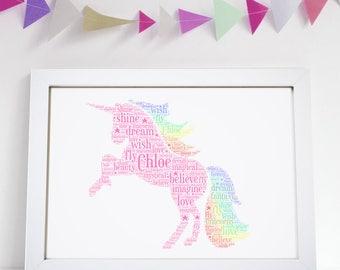 Personalised Pink Rainbow Unicorn Word Art Print Girls Birthday Gift Daughter Niece Friend