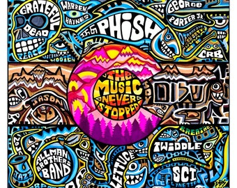 The Music Never Stopped 14 x 17 Grateful Dead Phish TWIDDLE Allman's Widespread Panic