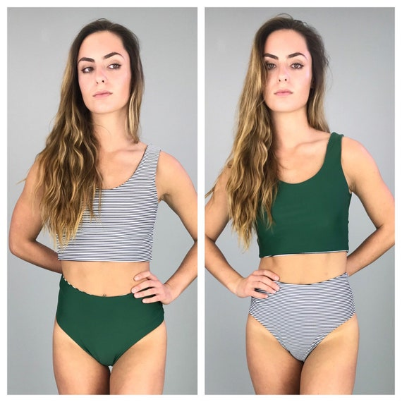 Black and white strip bikini crop top swimsuit tank small medium large reversible to green
