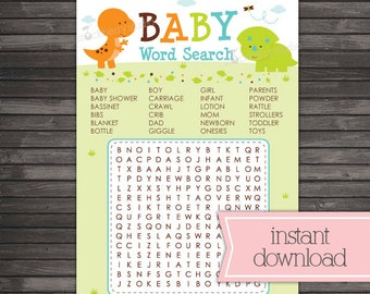 Dinosaur Baby Shower Word Search Printable Game - Instant Download - Boy Baby Shower Games - Dinosaurs Party Game - Baby Shower Activities