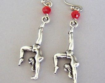 Gymnast earrings, antiqued silver gymnastics charm earrings, Swarovski crystal