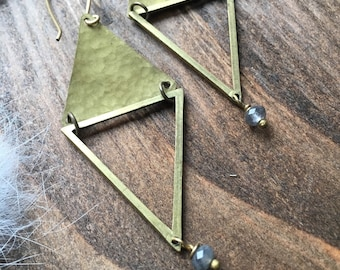 Labradorite Hammered Triangle Earrings