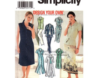 Shirt Dress Two Lengths, Shirt, Skirt, Pants Trousers Pattern Simplicity 7162 Design Your Own Womens Size 6 8 10 12 Sewing Pattern UNCUT