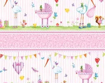 Bundle of Pink Repeating Border Stripe from Red Rooster by the yard