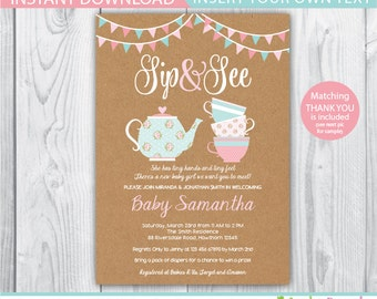 shabby chic baby shower invite / sip and see baby shower / sip and see invitation / sip and see invitation girl / high tea baby shower