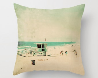 throw pillow cover, lifeguard station pillow, beach cottage decor, beach photo mint green blue, surfer California pillow, 18x18 pillow
