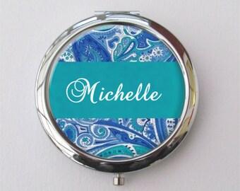 Bridesmaid Gift, Personalized Compact Mirror, Purse Mirror