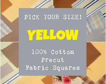 Yellow Precut Fabric Squares, 100% Cotton Fabric, Pick Your Size, 10 Quilt Squares