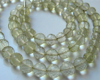 4.5 Inches of Pretty LEMON QUARTZ  Faceted Round 7mm Semi Precious Gemstone beads