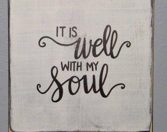 """It Is Well With My Soul Hand painted Wooden Canvas Sign 10""""x10"""", wall art"""