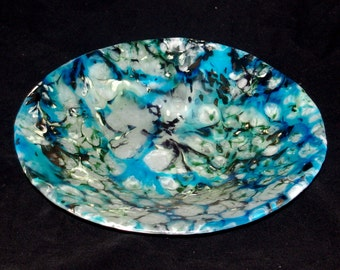 Fused Boiled Glass Turquoise Pasta Bowl